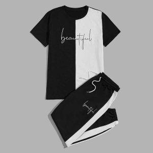 Мужской Контрастный с текстовым принтом Футболка & боковым швом на кулиске Спортивные брюки SHEIN. Цвет: черный и белый