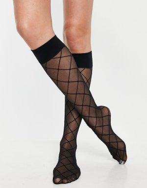Черные гольфы из тюля до колена с узором ромбом -Черный цвет ASOS DESIGN