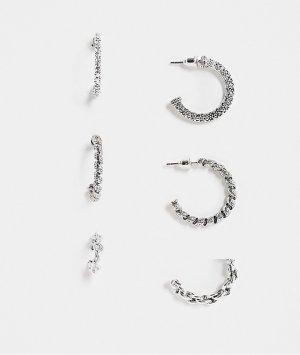 Набор из 3 пар серебристых серег-колец с разной перекрученной отделкой -Серебряный Topshop
