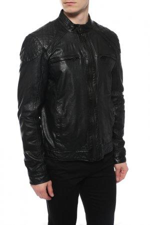 Кожаная куртка REDSKINS. Цвет: черный