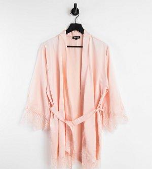 Бледно-розовый атласный халат с кружевной отделкой Petite-Голубой Loungeable