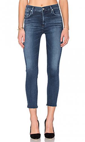 Укороченные облегающие джинсы с высокой посадкой sophie AGOLDE. Цвет: синий
