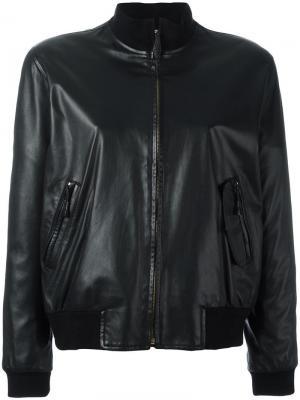 Кожаная куртка-бомбер Hermès Vintage. Цвет: чёрный