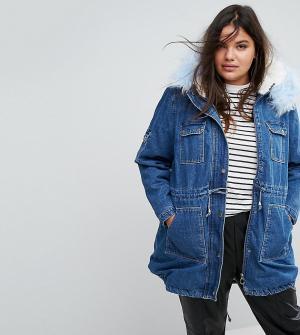 Джинсовая куртка с воротником и подкладкой из искусственного меха Simp Simply Be. Цвет: синий