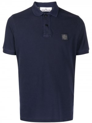 Рубашка поло с нашивкой-логотипом Stone Island. Цвет: синий