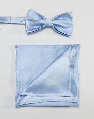 Голубой атласный галстук-бабочка и платок для пиджака Devils Advocate. Цвет: синий