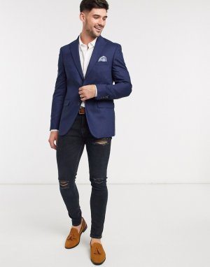 Синий пиджак узкого кроя -Голубой Burton Menswear