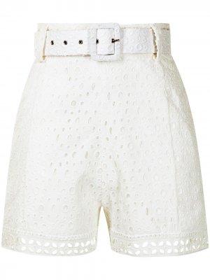 Кружевные шорты с поясом Charo Ruiz Ibiza. Цвет: белый