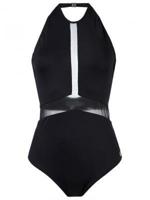 Sheer panel halterneck swimsuit Brigitte. Цвет: черный
