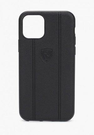 Чехол для iPhone Ferrari 11 Pro, Stamped logo Embossed lines Leather Black. Цвет: черный