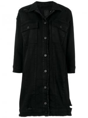 Состаренная джинсовая куртка Thom Krom. Цвет: чёрный