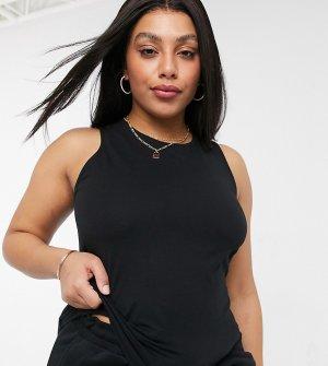 Комбинируемая трикотажная майка от пижамы черного цвета с передом в стиле борцовки ASOS DESIGN Curve-Черный цвет Curve