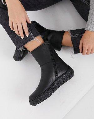 Черные кожаные кроссовки на массивной плоской подошве -Черный Camper