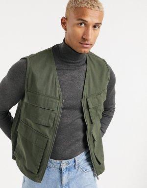 Жилет цвета хаки в стиле милитари с карманами -Зеленый Only & Sons