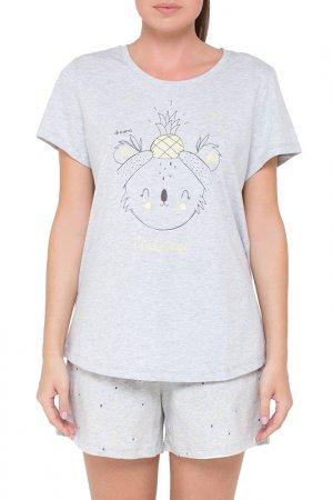 Комплект: футболка, шорты Trikozza. Цвет: серый, голубой, меланж, дождик