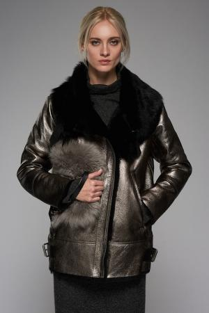 Sheepskin coat VESPUCCI BY VSP. Цвет: black, golden
