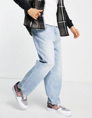 Голубые широкие джинсы свободного кроя -Голубой Bershka
