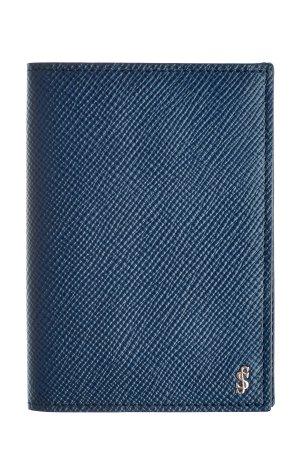 Визитница из сафьяновой кожи с тисненым логотипом бренда SERAPIAN. Цвет: голубой