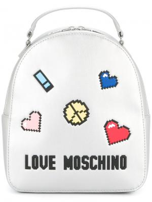 Patch-appliqué metallic backpack Love Moschino. Цвет: металлик