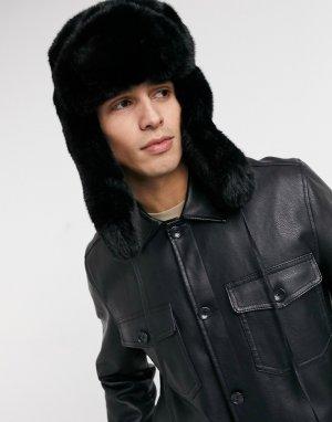Черная шапка-ушанка из искусственного меха -Черный Kangol