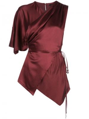 Атласная блузка с воротником на завязке Yigal Azrouel