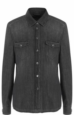 Джинсовая блуза прямого кроя с потертостями 7 For All Mankind. Цвет: чёрный