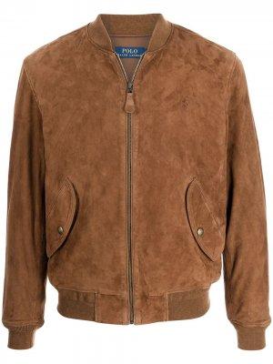 Embroidered-logo suede bomber jacket Polo Ralph Lauren. Цвет: коричневый