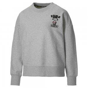 Толстовка x PEANUTS Crew Neck Womens Sweatshirt PUMA. Цвет: серый