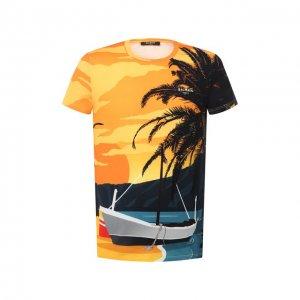 Хлопковая футболка Balmain. Цвет: разноцветный