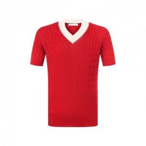 Пуловер с короткими рукавами Brunello Cucinelli. Цвет: красный