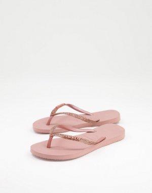 Шлепанцы с блестящим узким ремешком цвета «розовый крокус» -Розовый цвет Havaianas
