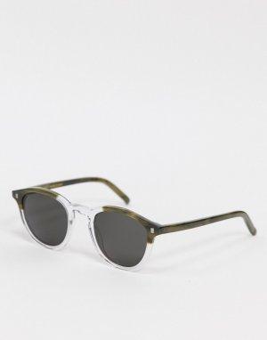 Круглые солнцезащитные очки унисекс в оправе темно-зеленого и прозрачного цветов Nelson-Мульти Monokel Eyewear