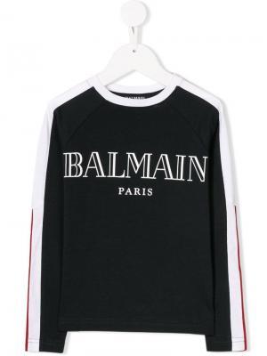 Logo-print sweatshirt Balmain Kids. Цвет: синий