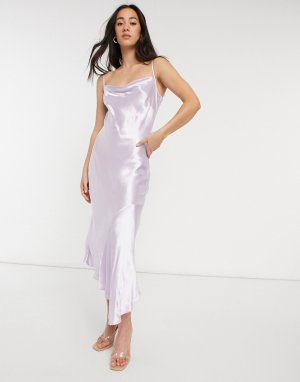 Асимметричное атласное платье миди сиреневого цвета со свободным воротом -Фиолетовый цвет Closet London