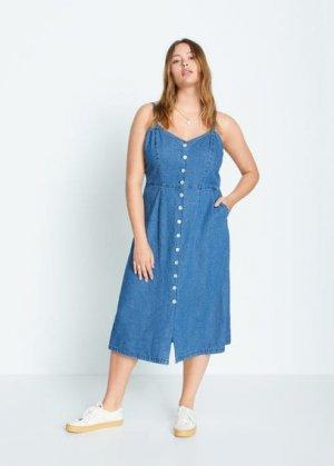 Джинсовое платье с пуговицами - Jeanne Mango. Цвет: темно-синий