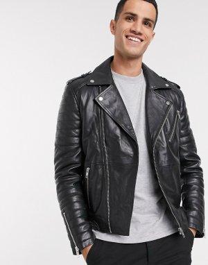 Черная кожаная байкерская куртка на молнии -Черный цвет Barneys Originals
