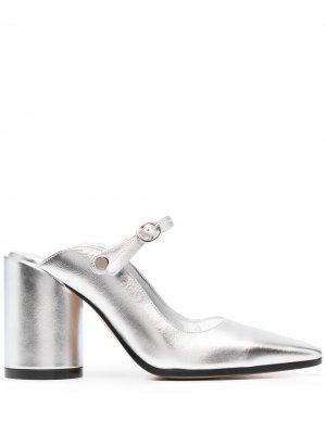 Туфли на блочном каблуке MM6 Maison Margiela. Цвет: серебристый