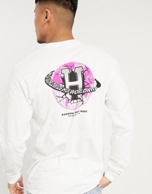 Белый лонгслив с принтом на спине HUF