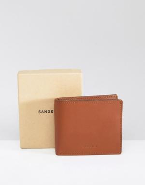 Коричневый кожаный бумажник Bill Sandqvist. Цвет: коричневый