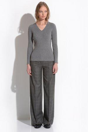 Прямые брюки серого цвета в клетку VASSA&Co. Цвет: бежевый