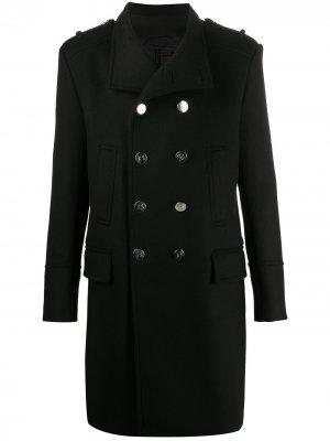 Двубортное пальто длины миди Balmain. Цвет: черный