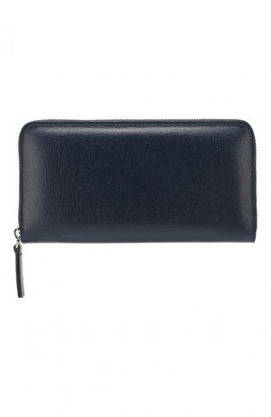Кожаное портмоне Canali. Цвет: синий