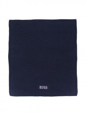 Одеяло с нашивкой-логотипом Boss Kids. Цвет: синий
