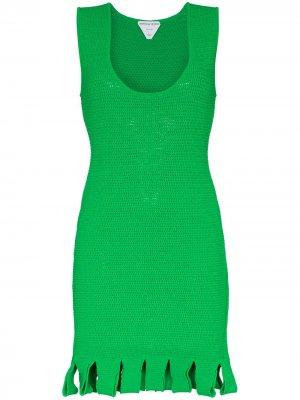 Платье с бахромой Bottega Veneta. Цвет: зеленый