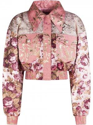 Жаккардовый бомбер с цветочным узором Dolce & Gabbana. Цвет: розовый