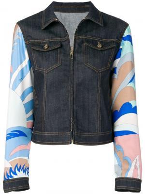 Джинсовая куртка с принтом на рукавах Emilio Pucci. Цвет: синий