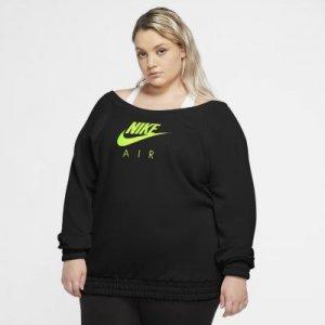 Женская флисовая футболка с длинным рукавом Nike Air (большие размеры) - Черный