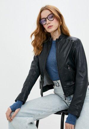 Куртка кожаная Boss Jabelia. Цвет: синий