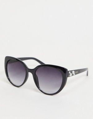 Солнцезащитные очки «кошачий глаз» с отделкой из искусственного жемчуга -Черный Lipsy