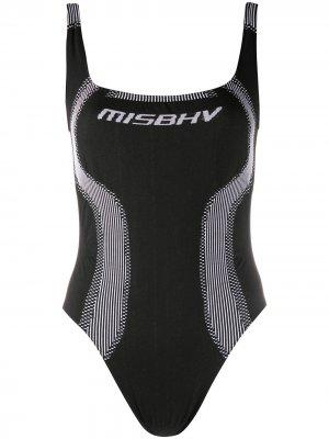 Трикотажное боди с логотипом MISBHV. Цвет: черный